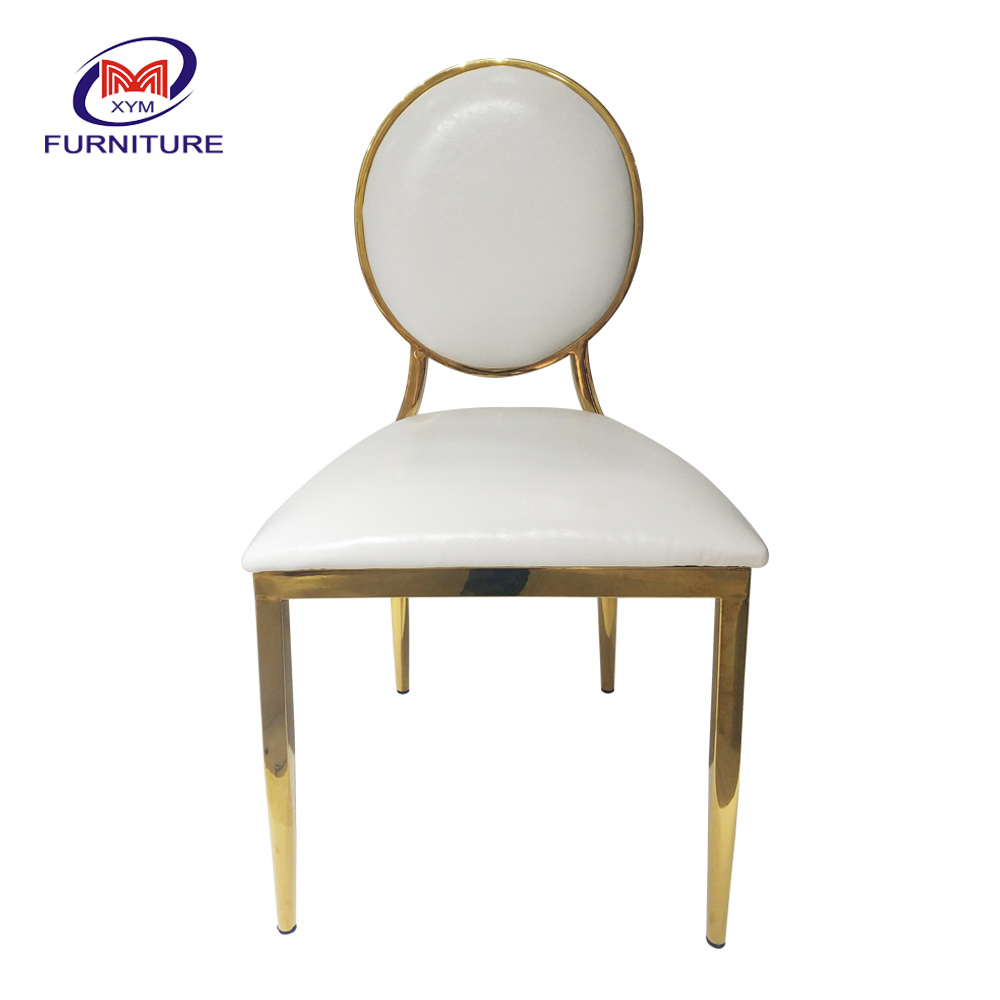 [Hot Item] Hot Sale Wedding Furniture Round Back Gold Stainless Steel Chair