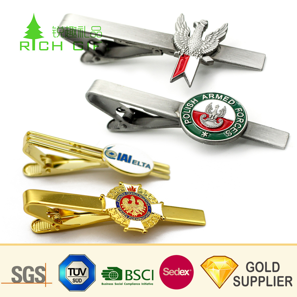 Manufacturers Cheap Custom Logo Luxury Silver Men Cufflinks Tie Clip Bar Set Wholesale Fashion Blank Zinc Alloy Gold Brass Airplane Bus Magnetic Metal Tie Clip pictures & photos