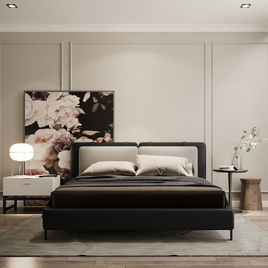 China Morden Design 5stars Black Twin Bed Hotel Bedroom Furniture