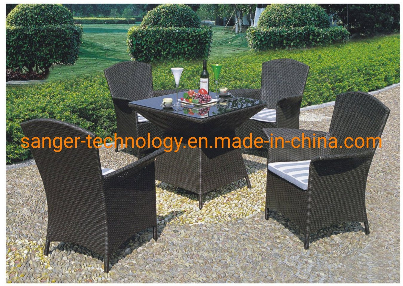 China Patio Furniture 5 Pcs All Weather Resistant Heavy Duty Wicker Dining Set With Chairs Perfect For Balcony Patio Garden Poolside 5 Piece Wicker Table And Chair China Outdoor Furniture Sets