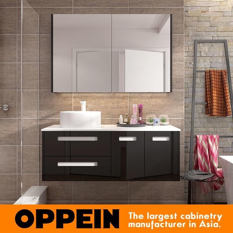 China Italian Modern Design Black Lacquer Storage Bathroom Mirror Cabinet With Basin Vanity