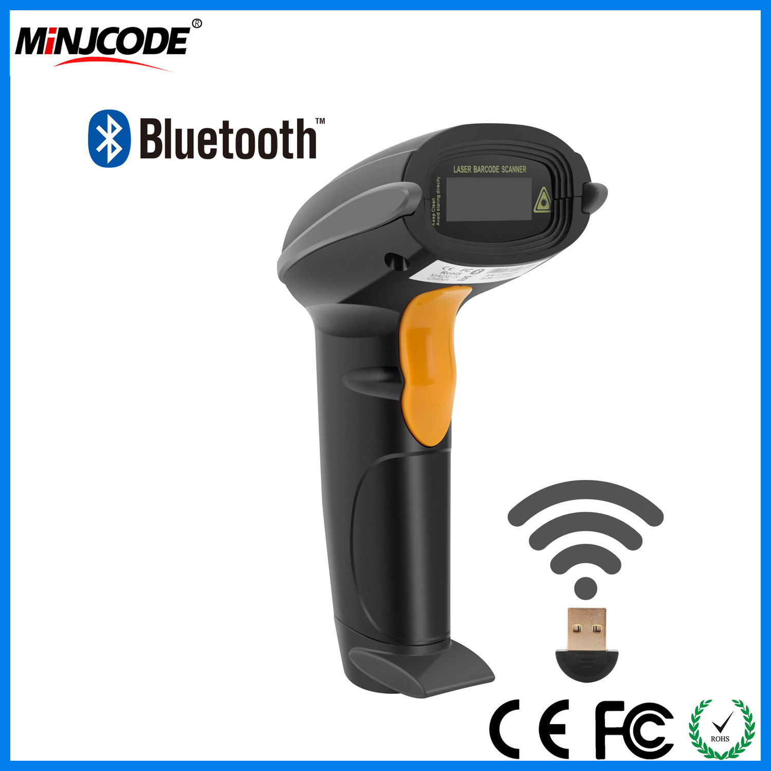 USB Barcode Scanner Wireless Rechargeable Handheld Automatic