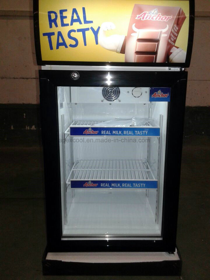50l Mini Countertop Display Freezer With 3 Layer Glass Door For Chocolate