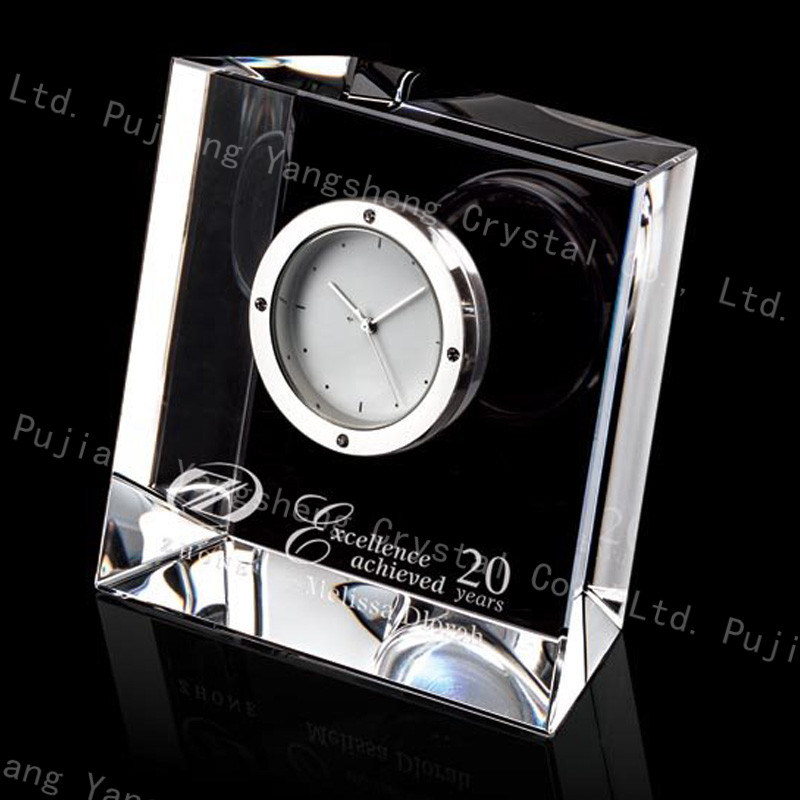 China Transpa Small Crystal Desk Clock For Business Gift Craft