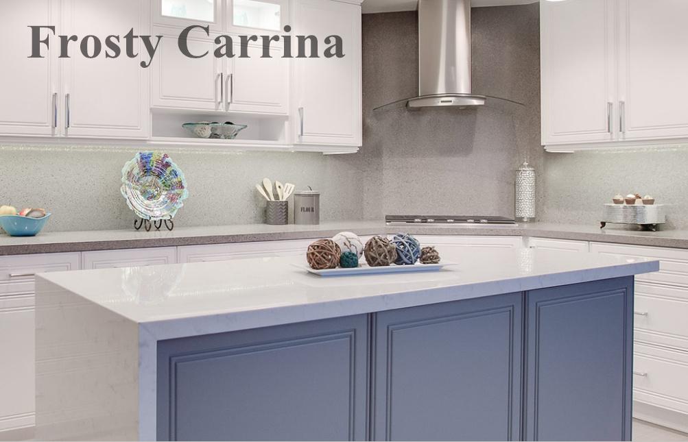 China 2cm Quartz Countertop Looks Like Marble Frosty Carrina Photos