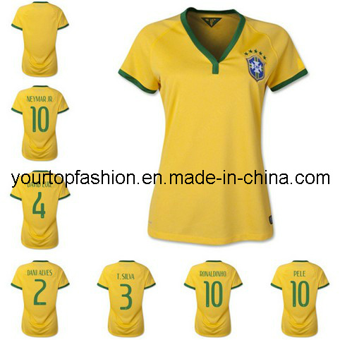 5d53659c4 China Free Shipping Brasil Women Soccer Jersey 2014 Customized Name Number  Lady Football Jerseys Girl Soccer Uniforms Size S M L - China Mexico Soccer  ...