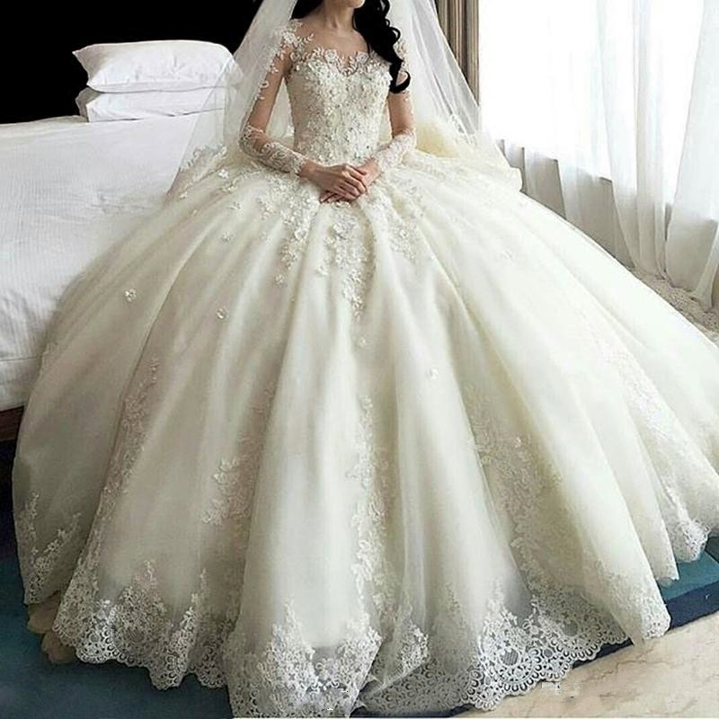 Lace Bridal Ball Gown Tulle Beaded Puffy Princess Wedding Dress H14658