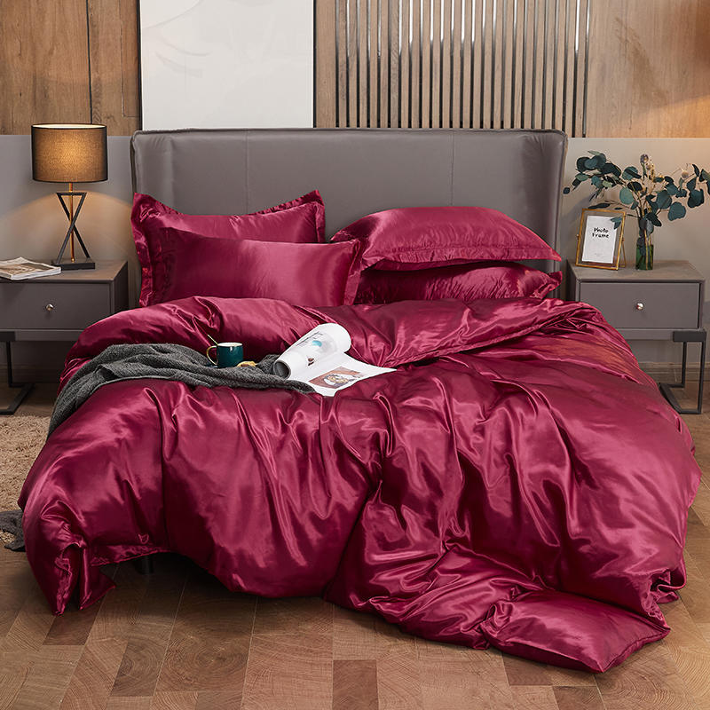 China 100% Natural Satin Silk Bedding Set with Duvet Cover Bed Sheet  Pillowcase Luxury 4PCS Satin Bedding Bed Linen King Queen Twin Size - China Silk  Bedding and Satin Silk Bedding price