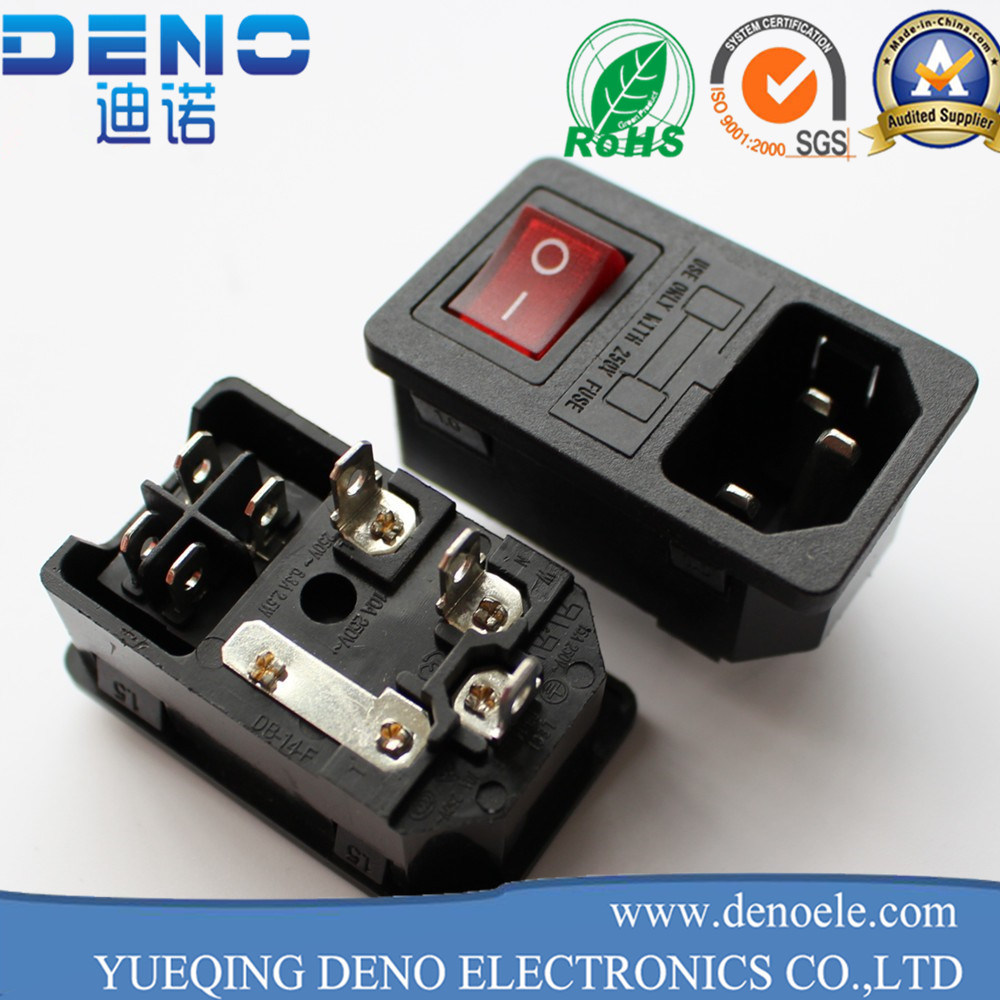 China IEC320 C14 AC Power Cord Inlet Socket Receptacle with Rocker ...