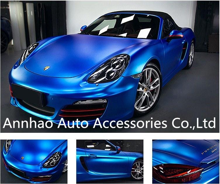 Matte Blue Car >> Hot Item Car Decal Sticker Matte Chrome Accessories Blue Car Wrap Vinyl