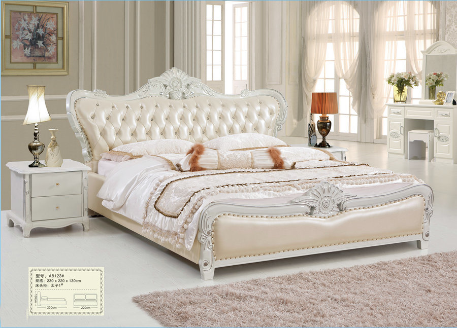 China Exporting Bedroom Furniture Sets King Size Royal Bed A8123 Set