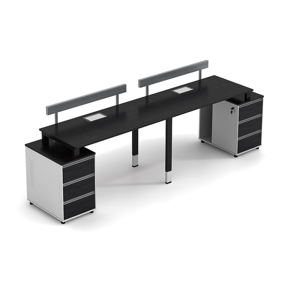 China Metal Frame Modern Design Office Desk For 2 Person Workstation With Side Cabinet China Customize Office Desks Commercial Furniture Table Pictures