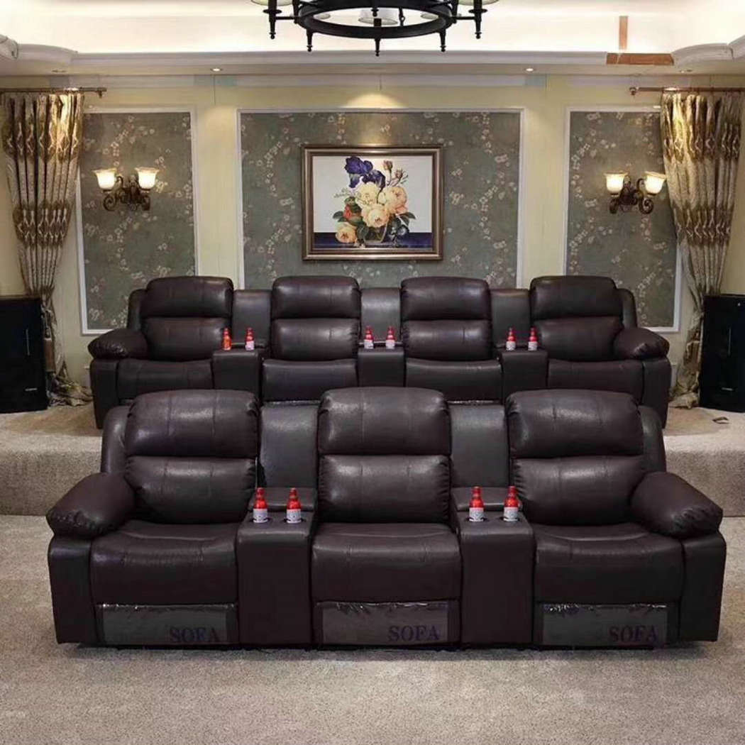 China Brown Color Home Theater Manual Type Recliner Cinema Sofa