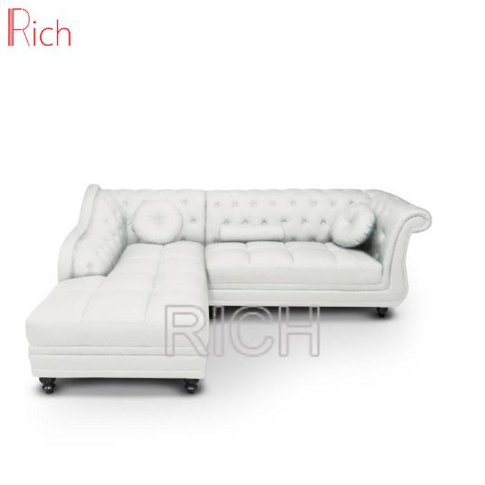[Hot Item] L Shape Recliner Leather Sofa Wooden Corner Sofa Set Furniture