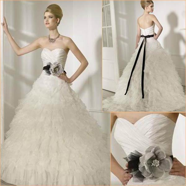 Wedding Gown Preservation Process Machines: China Ruffled Skirt Black Ribbon Latest Wedding Dresses