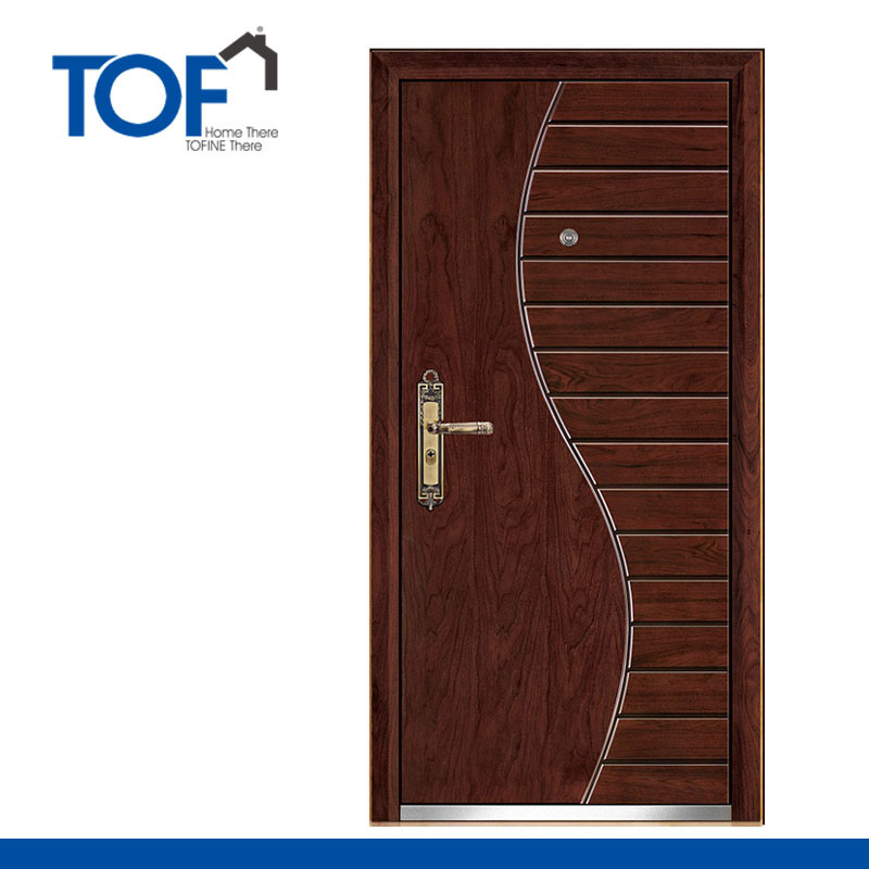 China Quality Simple Design Single Armored Steel Wood Door