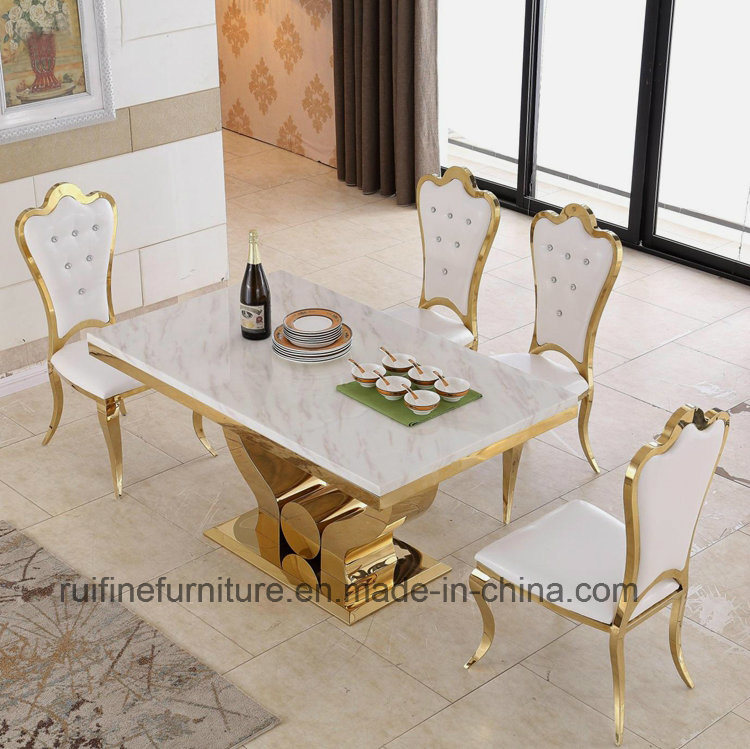 China Modern Dining Room Furniture Stainless Steel Gold Marble ...
