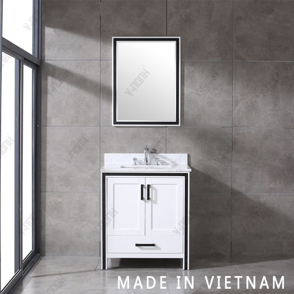 China 36inch Single Sink Modern Style Bathroom Vanity With Carrara Top China Transitional Wall Mounted