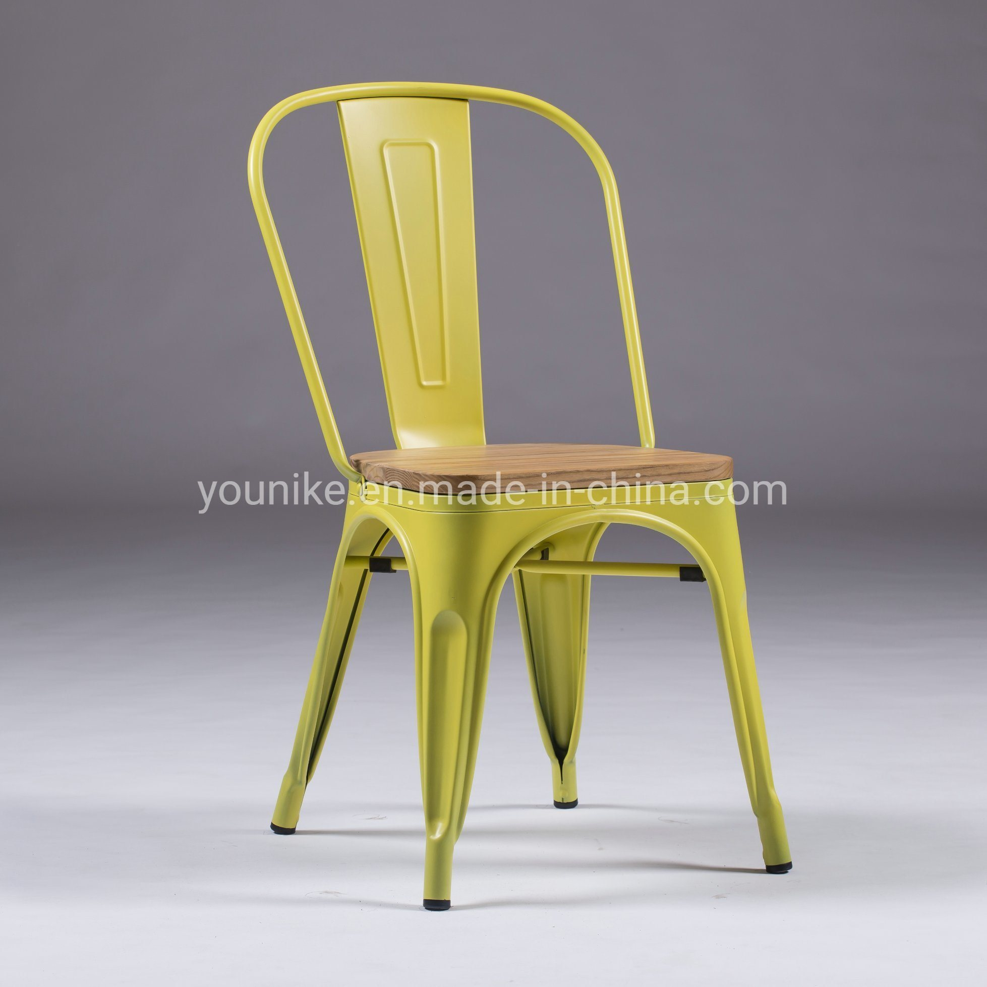 [Hot Item] Industrial Tolix Modern Metal Dining Chair with Wood Seat Yellow