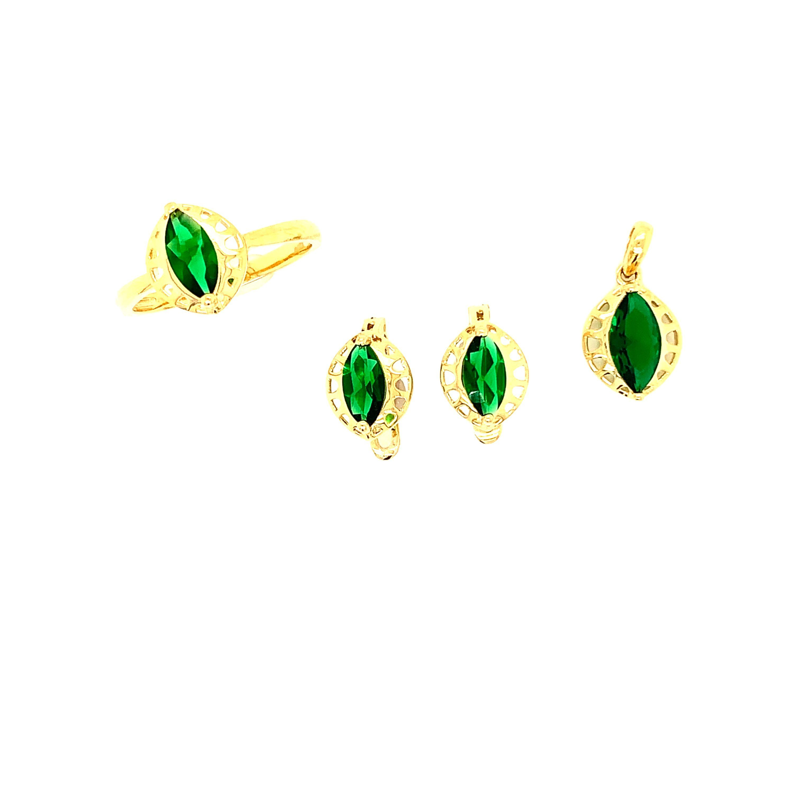 China 925 Sterling Silver Jewelry Gold Plated Emerald Jewelry Set