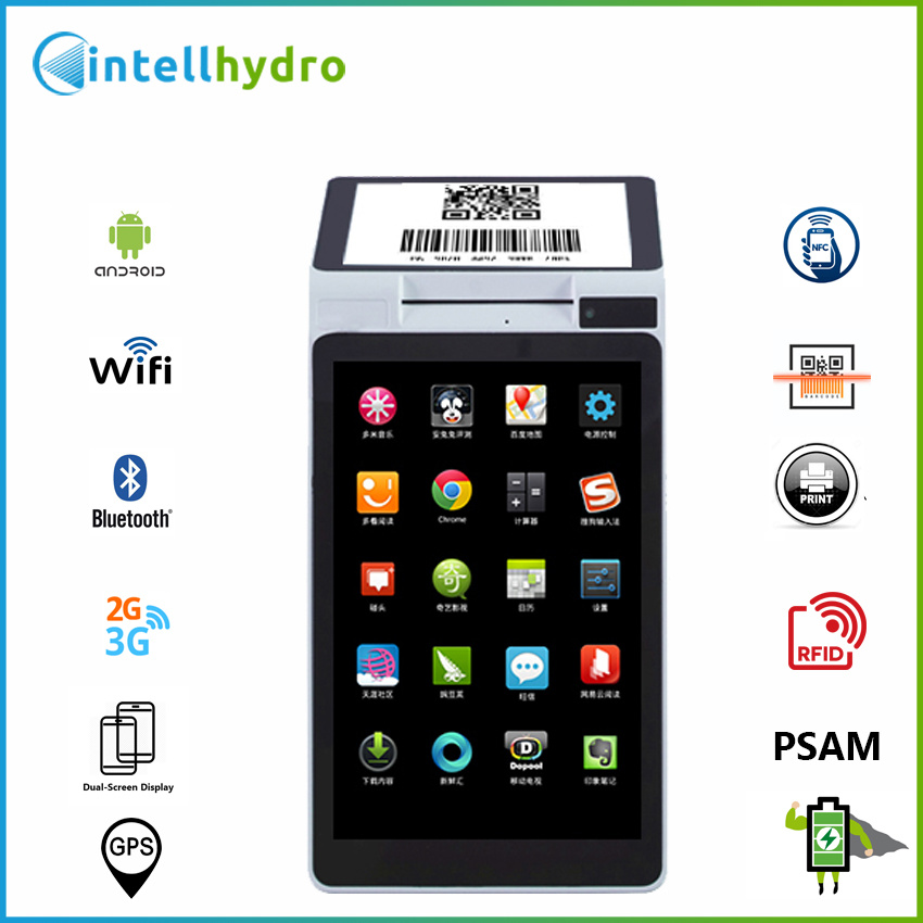 USD139/PC Android 3G GPRS GSM Wi-Fi Dual-Screen NFC Barcode Scanner Thermal  Printer Smart POS Terminal