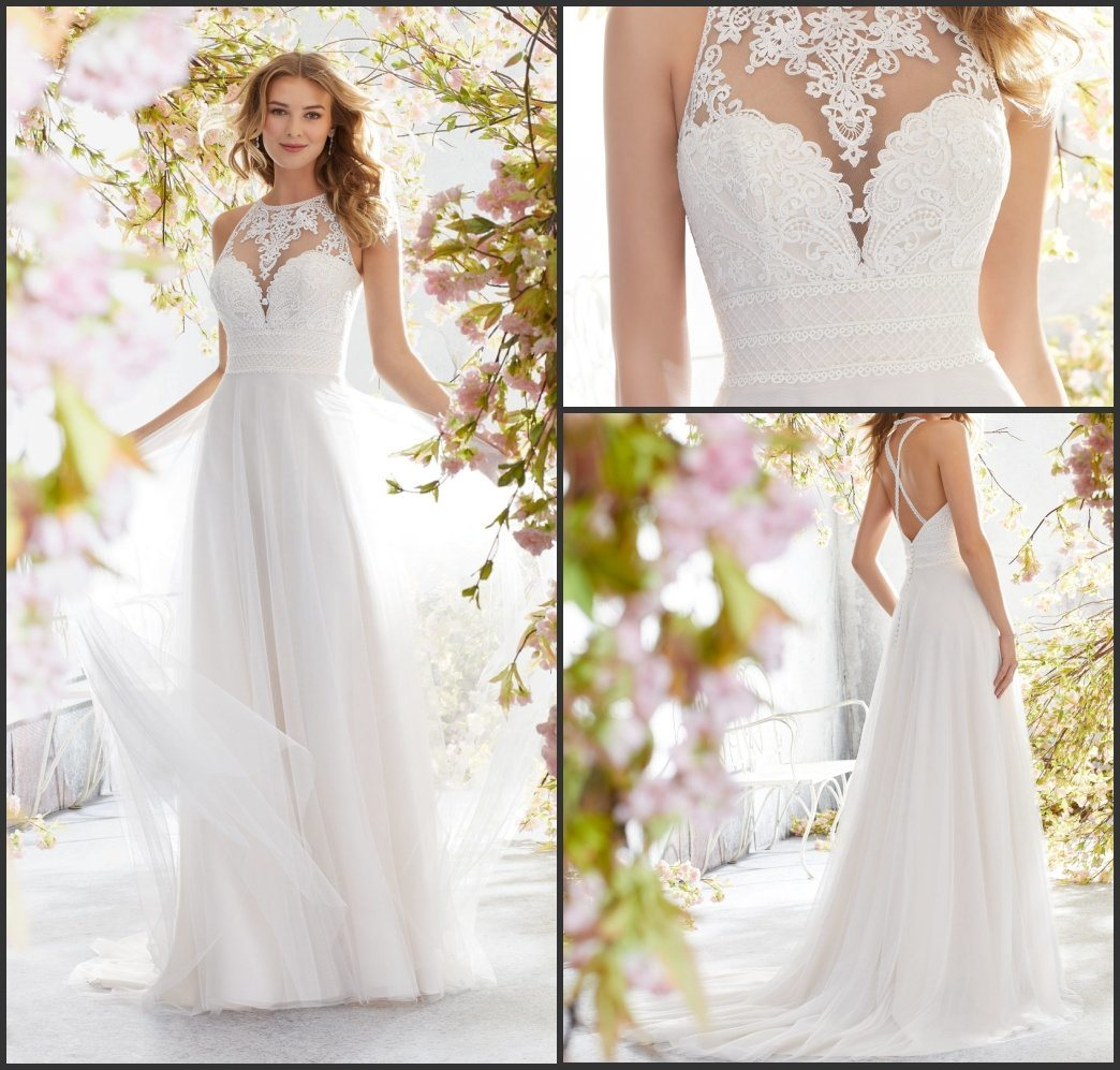 Hot Item Cross Back Wedding Dresses A Line Lace Tulle Beach Bridal Gowns L6894