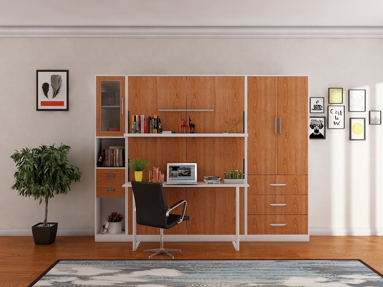 Hot Item Vertical Hidden Murphy Wall Bed Folding Wall Bed With Bookcase And Desk