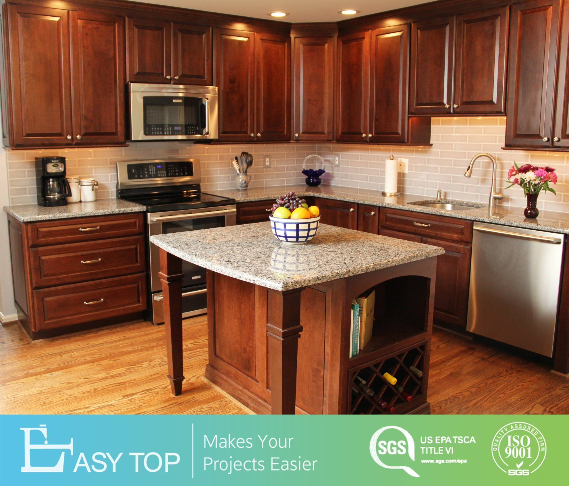[Hot Item] Classic Design Cherry Wood Raised Panel Solid Wood Kitchen  Cabinets