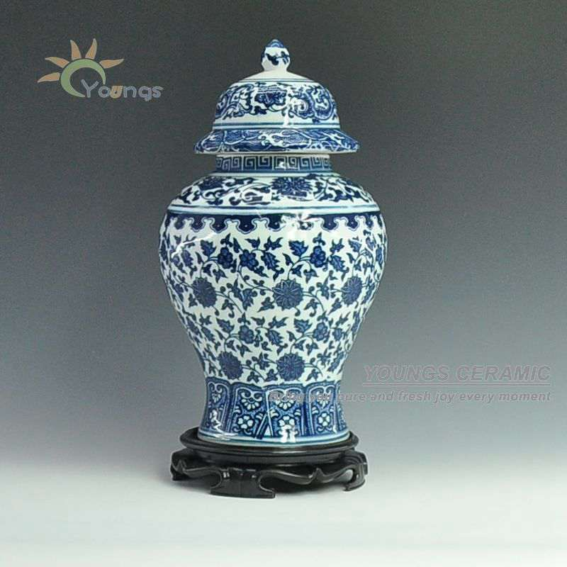 Chinese Antique Blue White Ceramic Porcelain Vases Ginger Jar