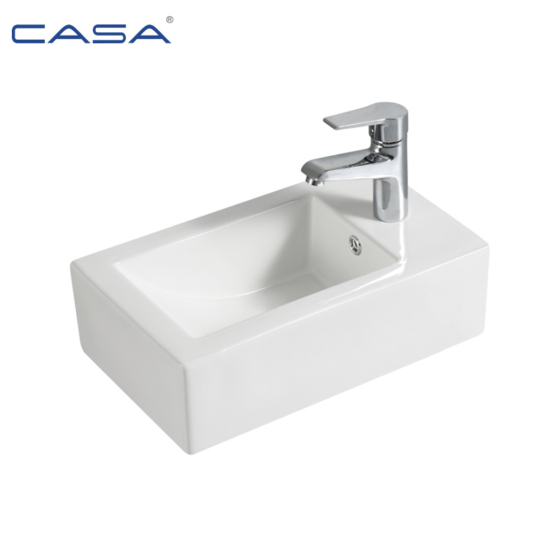 China Single Faucet Bathroom Sink Rectangular Wall Mounted Wash