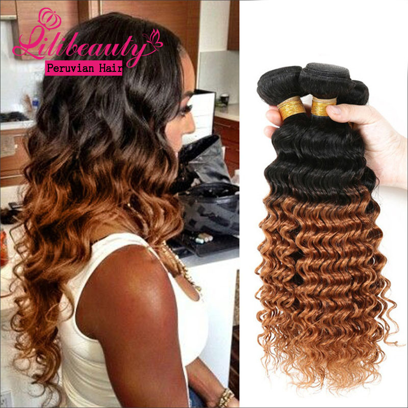 China Peruvian Curly Hair Style Products 3 Tone Color Ombre Hair