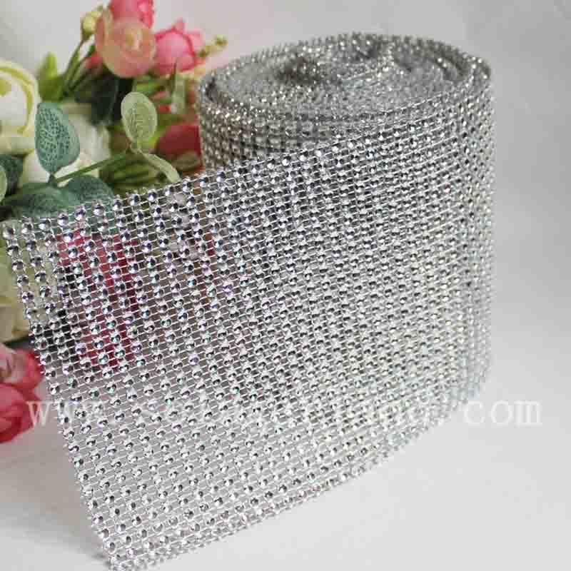 24 Rows Diamond Mesh Wrap Roll Crystal Ribbon Rhinestone Shining Decor 1Yard New