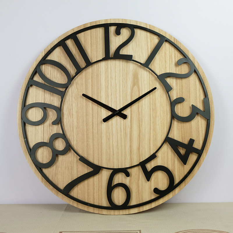 China Home Decorative Handmade Silent Large Creative Balck 3d 60cm Nature Wood And Metal Wall Clock China Clock And Wall Clock Price