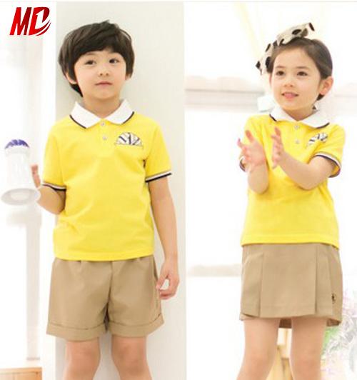 Hot Summer Nursery School Uniforms Set With Yellow
