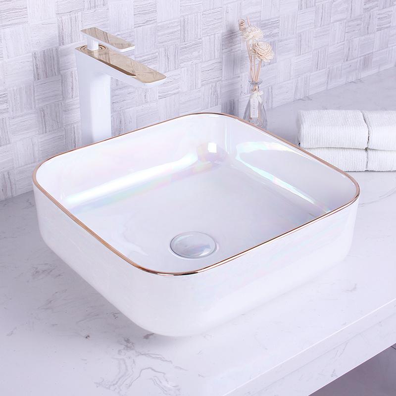 China Gold Edging Dazzle Color Unique Art Ceramic Fancy Bathroom Sinks China Sink Bathroom Sink