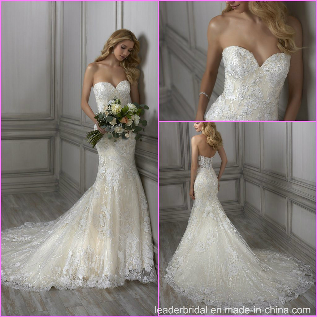 Mermaid Wedding Dress Beaded Strapless Sweetheart Lace Bridal Gown A18