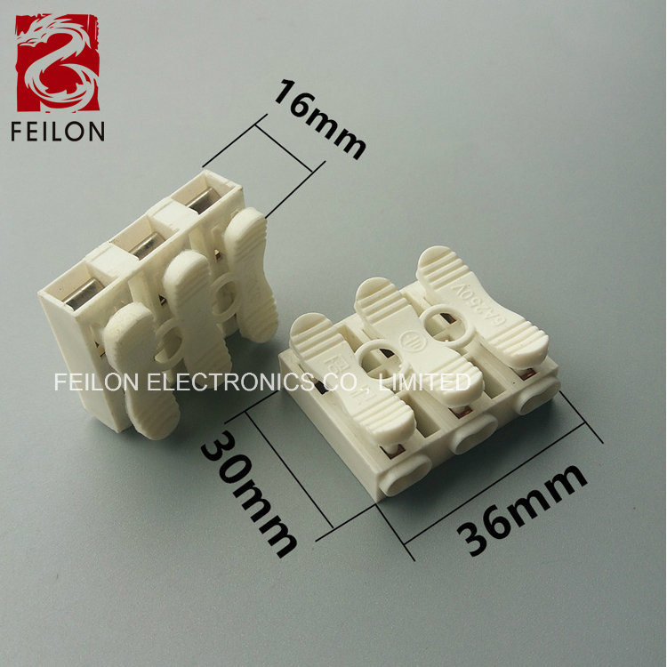 [Hot Item] Zq-3 3way Quick Terminal Block Connector LED Lamp Terminal 6A  Push Type Wire Connection Splitter