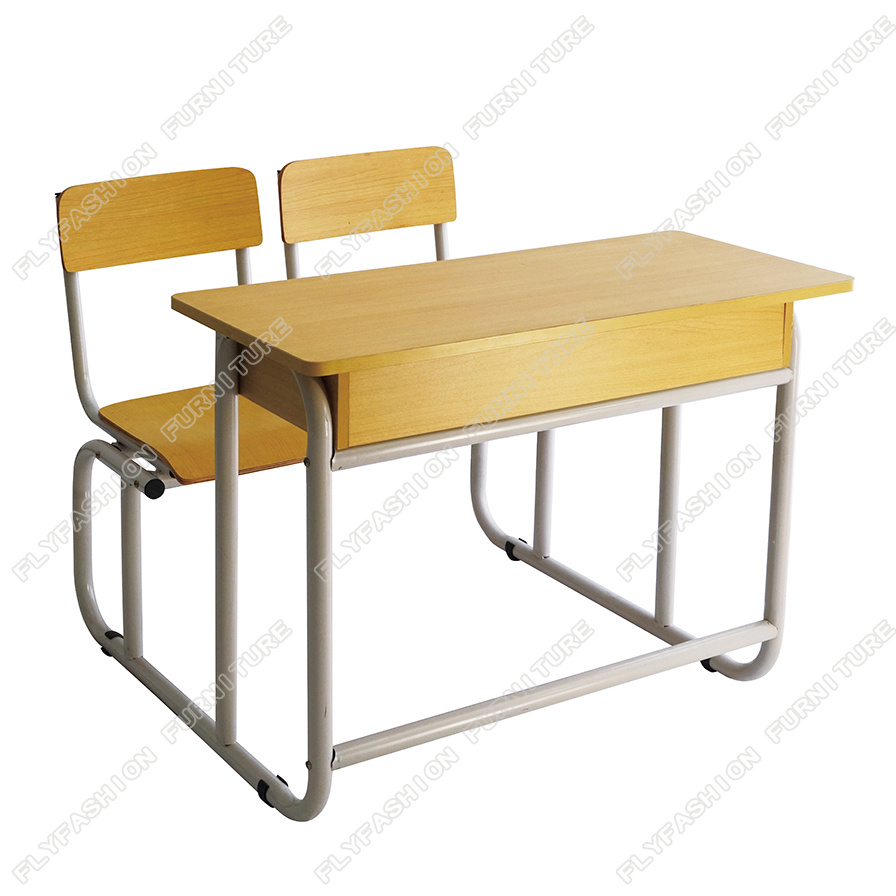 China Good Quality Simple Style School Furniture Double Student Desk