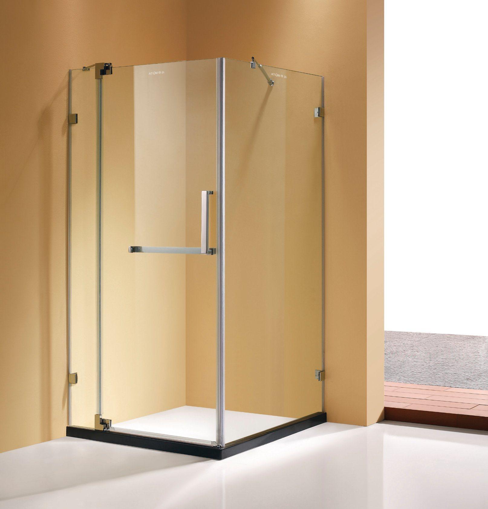 Hot Item Brushed Nickel Finish Frameless Pivot Shower Enclosure 3 8 Glass
