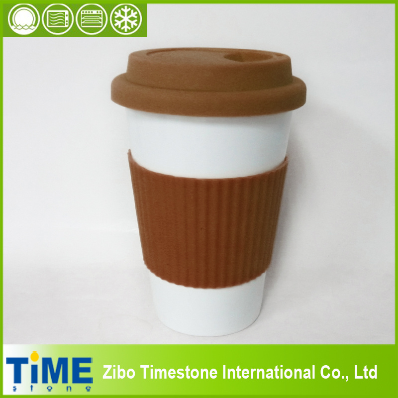 Porcelain Reusable Take Away Coffee Cup with Sleeves (15032802)