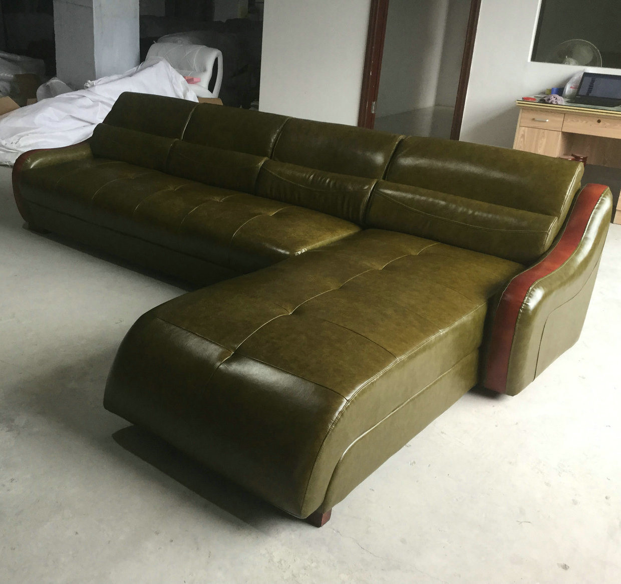 Green Color Modern L Shape Leather Sofa