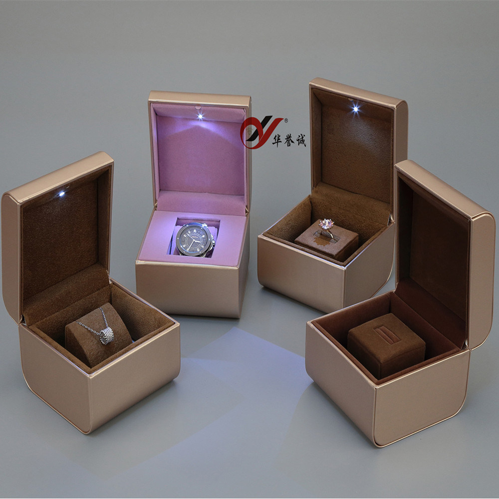 Gold PU Leather with LED Light Jewelry Box Set pictures & photos