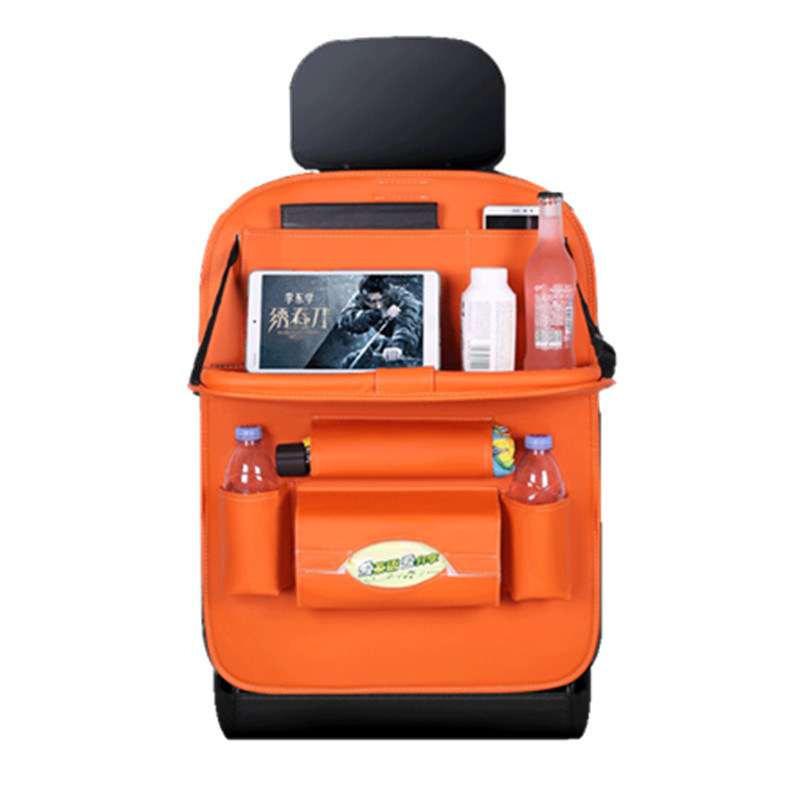 China Car Leather Organizer Orange Back Seat Organizer With Table