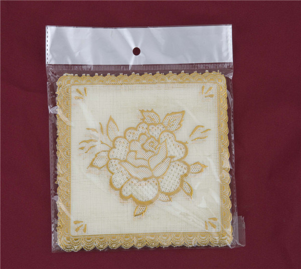 12.5*12.5cm Pink Lace Gold PVC Tablemat/Placemat Popular Use Home/Coffee