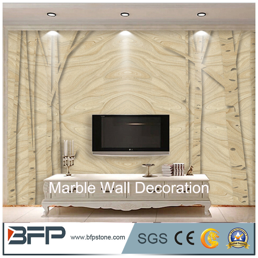 China Customized Design White Marble Stone Wall Sliver Dragon Marble
