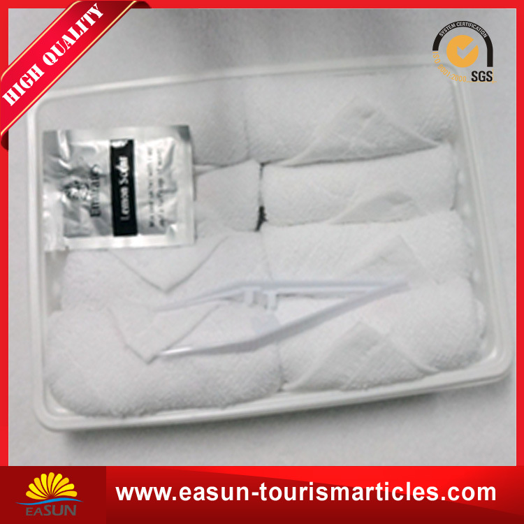 Disposable White Tray Cotton Face Towel for Airline