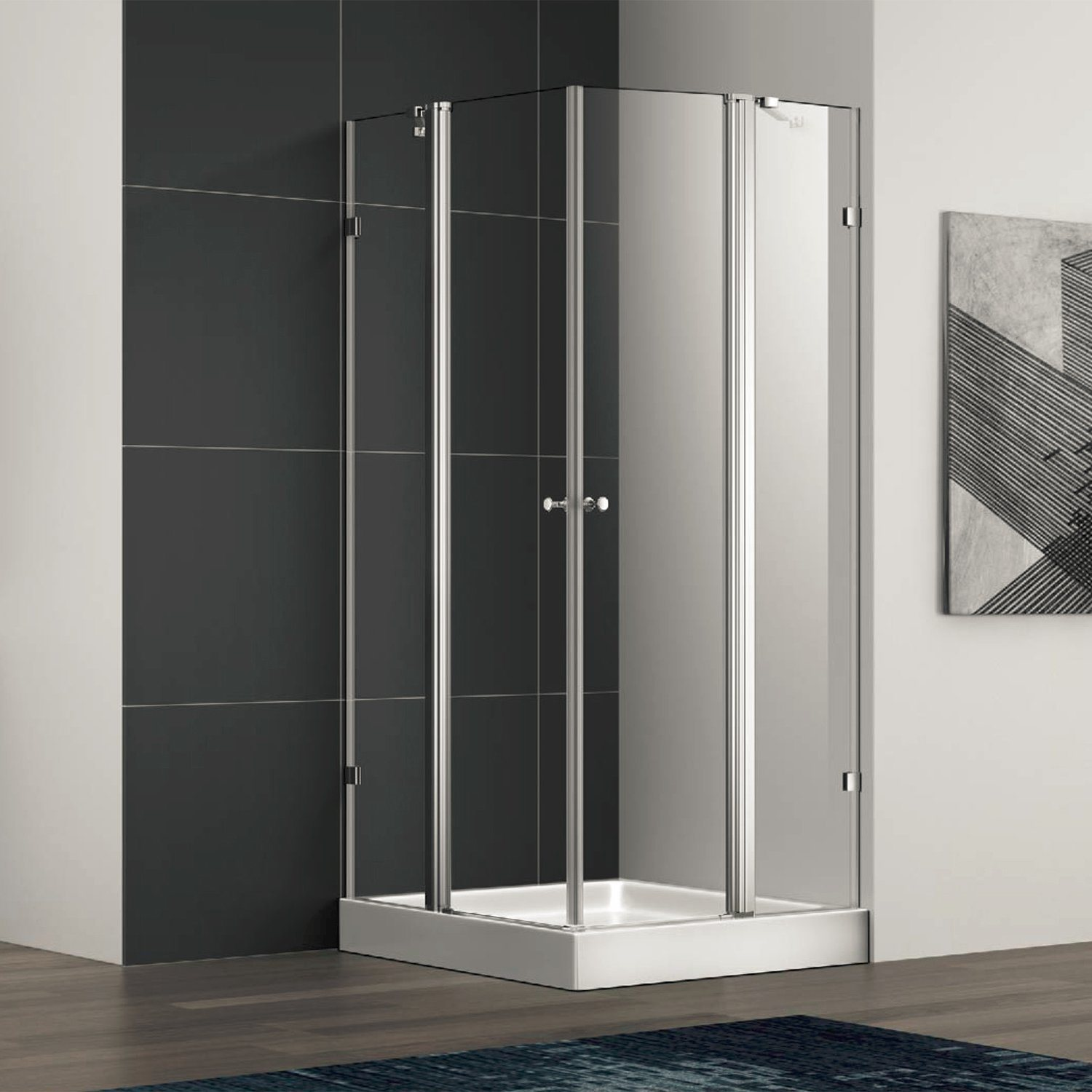 Hot Item Square Pivot Shower Enclosure Cabin With Stainless Steel Glass Clamp