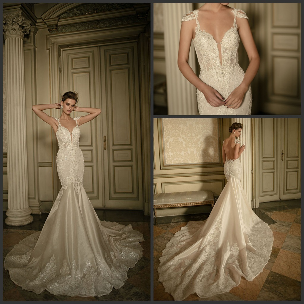Sleeves Berta Bridal Gown Mermaid Lace