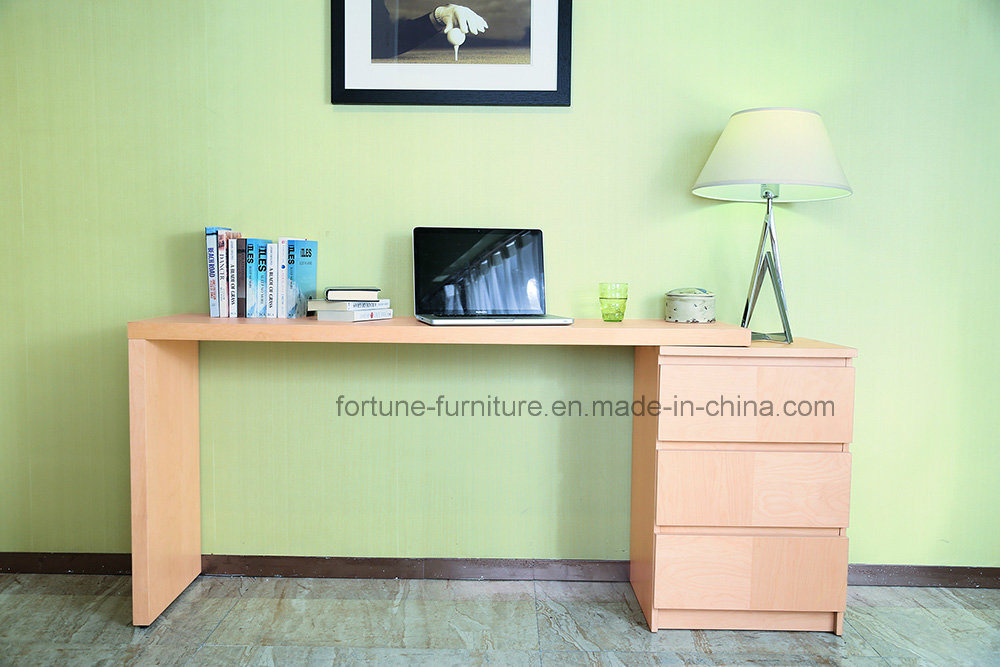 China Wooden Stretchable Birch Veneer Clear Lacquer Computer Desk With Chest Of Drawers Ad Fy N702 St Furniture Office Table