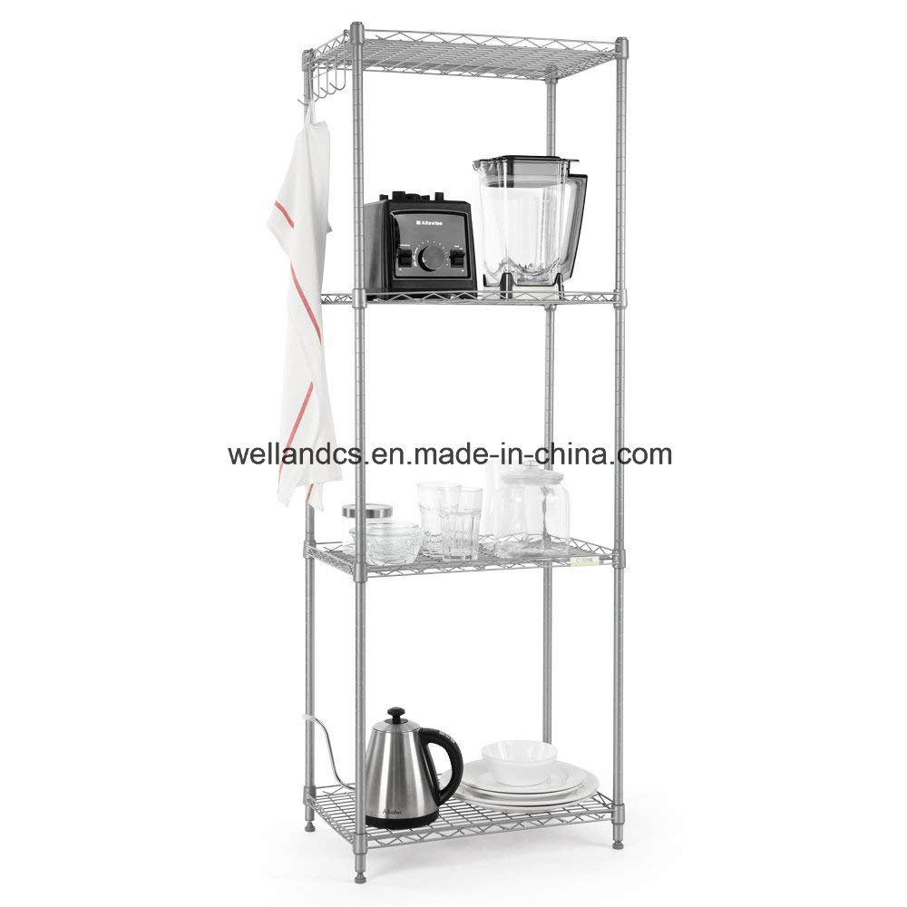 China Small 4 Tiers Adjule Kitchen Storage Rack Light Duty Steel Wire Shelving Unit